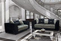 Luxury Sofa Set Suite Black Silver Beautiful Modern Classic Cushions Large Seat