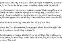 Thank yous! / Reviews from our lovely wedding couples!