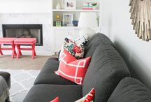Grey sofas, some patterns & pop-up colors