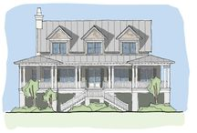 Carolina Kite / The Carolina Kite plan is an ideal design for coastal areas. This plan features an expansive and secluded master suite with his and her closets. Also on the living level, is a media room, and a large, open kitchen/dining/living space with great viewing opportunities. The back of the house opens up to an expansive outdoor living deck, great for entertaining. Upstairs, there are two bedrooms separated by a den and an attic for ample storage. Elevator access is also available to all living levels.
