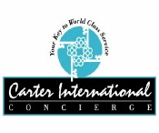 "Carter International Concierge / What is the significance of the logo?  The logo has 4 skeleton keys, traditional design that signifies the Concierge ... the Gatekeeper of the Keys.  The keys are contained within a blue circle which represents a global presence... Worldwide ... covering the four corners of the earth.  We are a small boutique concierge service firm born in Charm City, USA with an Ambitious ... ""Art of Service"" attitude.  Wherever in the world life takes you ... We're at Your Service!"