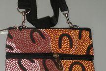 BAGS WALLETS  / Aboriginal design Bags - 3 Zip Shoulder Bags (19cm x 25cm)