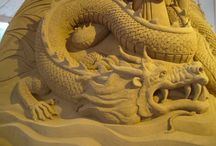 Amazing sand art!!! / Very cool to see other artists doing their thing!  These ones are sculpting in sand!