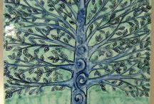 """Mattonella.ceramica """"Nel blù dipinta di blù"""".Dipinta a mano"""