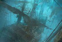 Pirates. / Pirates, pirate fashion, pirate ships, and the beautiful savageness of the sea.