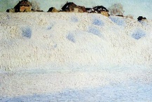 Snow scenes in paint