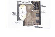 Badkamer ontwerp en realisatie / Voorstel schets  ontwerp badkamer en realisatie. Gewerkt met mozaïek(bisazza), kranen Philip Starck, wasbakken zwart marmer, spiegels Antonio Lupi