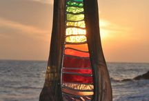 Stained glass in driftwood