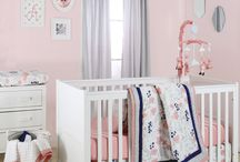 Coral Floral Navy Dot Nursery