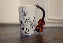 Violin,Guitar,mug