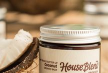House Blend Organic Balms / Ultra-Moisturizing, Completely Organic Body Balms. All body balms are USDA-certified organic, 100% natural, gluten-free, and vegan.  - House Blend Organics available at gethouseblend.com