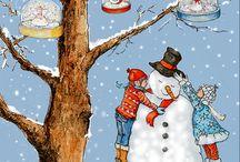 winter #koud #vakantie # sneeuw # illustraties #kerstboom / illustraties, liedjes, kleurplaten en knutseltips uit de wereld van wiepje www.dewereldvanwiepjenl
