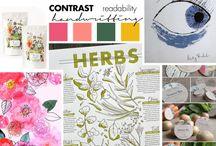 Moodboard / Eksempler for stemninger i typografi, farver, materialer og stilretning.