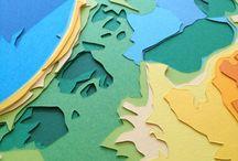 De kaart van Nederland gesneden uit papier / De kaart van Nederland uitgesneden uit lagen papier. www.beeldontwerper.nl