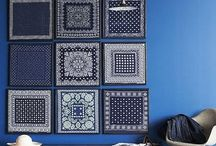 青、グレーの壁
