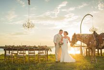 "Country Themed Styled Shoot / A year after Jessica and Robert's Wedding Day on South Padre Island, the couple decided to celebrate their anniversary reliving their special day with a Country Themed Styled Shoot. From hanging chandeliers to ""Tucker"" the horse, all of the details at sunset overlooking the water were just perfect! Featured in WeddingColors.net !"