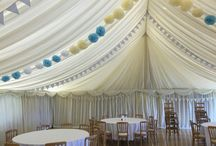 Village Hall Wedding / Village halls can be lined out with marquee linings and drapes to create a stunning wedding venue.