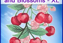watercolor cherries and blossoms designs pack
