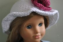 American Girl Doll Wardrobe / Crocheted or knitted clothes, hats, shoes and accessories that are made to fit American Girl dolls