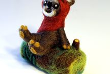 Needle Felting / Karen Watkins' needle felting work. Needle felt handmade animals, houses, and tree branch wall art.