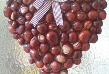 Autumn decoration conkers