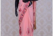 Blended Georgette Embroidery Sarees