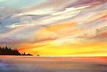 Aquarelle / coucher de soleil