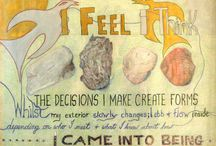 Art Works - Signs of Life / Hand made mixed media art using words, images and glitter.