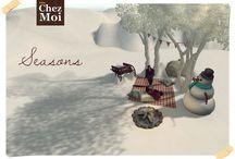 Romantic Seasons Secondlife / Enjoy all seasons in an atmosphere of love and romance with CHEZ MOI. #chezmoi #secondlife #mesh #animations #xmas #decor #gardens #design #ideas #winter #summer