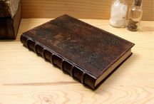 Old leather journals / Worn, reclaimed leather journals with antiqued stained pages