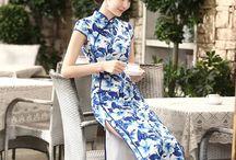 Satin Cheongsam Qipao Chinese Dress / Satin Cheongsam Qipao Chinese Dress