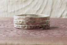 Silver Hammered Stacking Rings