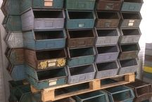 Metal colored crates