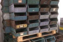 Metal colored crates
