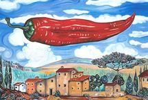 Flying Peperoncini / Öl auf Leinwand, 90 cm x 120 cm. Italienische Landschaft mit fliegender Paprikaschote. Gemalt nach einer Buntstiftskizze.