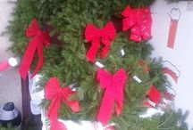 "Holiday Wreaths & Blankets / We have Christmas Wreaths and Grave Blankets for sale! They are handmade by Lisa Ahner!  12""$15.00 14""$17.00 16""$19.00 24""$36.00 with lights   Grave Blankets $20.00"