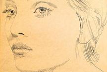 portrait femme au crayon
