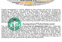 Project management assignment help / Project management is usually defined as the process and activity of planning, organizing, motivating, and controlling resources, procedures and protocols to achieve specific goals in scientific or daily problems. The ability to complete the company's future endeavors is the main motive of a project management department in every enterprise.