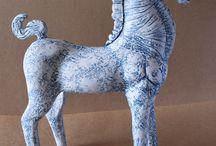 HORSE SCULPTURES - CERAMICS