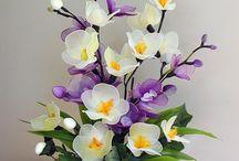 flores de meias de náilon e outras