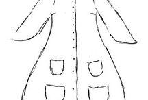 Dark Mori Kei / Collection of silouettes, patterns, fabric swatches for Dark Mori kei.