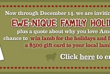 American Lamb Family Recipes / Now through Dec. 14, fans of lamb are invited to post their ewe-nique family recipes plus a quote about why they love American Lamb. Please use the hashtag #AmericanLambFamilyRecipe. Weekly winners, chosen at random, will receive a lamb cut of their choice for a family feast. A panel of lamb-lovin' chefs will choose a grand prize winner, who will receive a $500 gift certificate to a restaurant in their home town that serves American lamb. Winner's announced weekly & grand prize announced 12/17! / by American Lamb Board