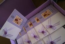 Purple Baptism... / invitations&favours with cross&flower