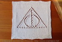Harry Potter Themed Knit Afghan / I'm making a patchwork knit afghan using Harry Potter themed squares and squares of different knitting stitches.
