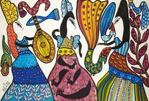 MAHIEDDINE BAYA / Née en 1931 aux environs d'Alger, Baya fait à 16 ans l'objet d'une première exposition personnelle à la galerie Maeght à Paris dès 1947, dont le catalogue est préfacé par André Breton. Le succès est immédiat et elle rencontre alors Braque, Picasso et la société artistique de Paris.