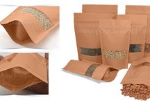 Brown paper bags with full rectangle window