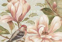 madár virággal színes / bird flower Vintage transfer transzfer colorful