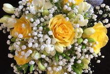 Yellow and purple wedding flowers / All shades of purple with yellow makes a big statement