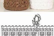 cestos de crochê e tecido