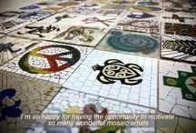 """***SIGNS*** global mosaic project conceptualized by Caroline Jung in 2014/2015 #GermanySignsProject / ... an international project for 160 special artisans. Mosaic art, both historically and in the present brings a special craftsmanship to every culture. Working with small bits of glass and stones, artists from 33 countries came together on the Internet, to create a joint work of art. """"Signs"""" is an art project that was launched by German mosaic artistan Caroline Jung in the summer of 2014, and over the next few months, 160 artists from around the world chose to join her in creating it."""